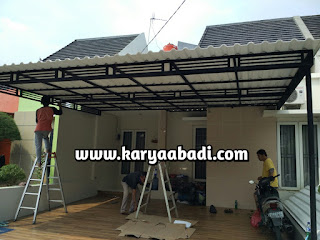 pemasangan kanopi minimalis atap alderon