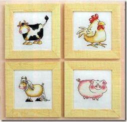 cojin  vaca, cerdo, caballo y gallina