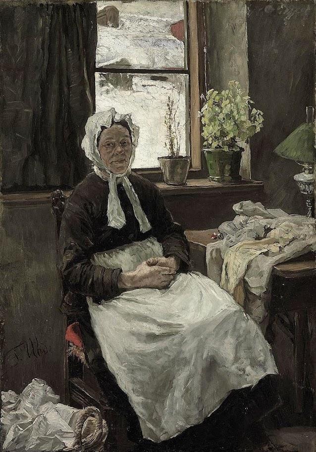 Fritz von Uhde - Die alte Näherin(1891)