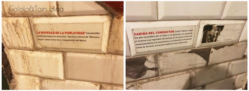 carteles explicativos en la estación fantasma de chamberí