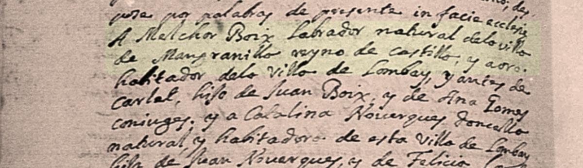 Inscripción del matrimonio de Melchor y Catalina. (Archivo Parroquial de Llombai).