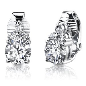 Sterling Silver Round Shape White Cubic Zirconia Clip On Earrings