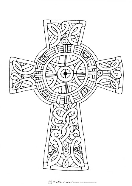 This Is Too Celtic But You Could Do Something Mandalaesque Around The Cross  Pin By Christy Baggett On Coloring Sheets