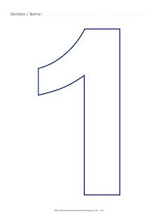Lámina para colorear y pintar el número uno en color azul