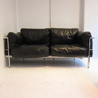Vintage Le Corbusier LC3 Style Two-Seat Sofa