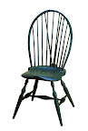 braced bowback side chair in soldier blue paint