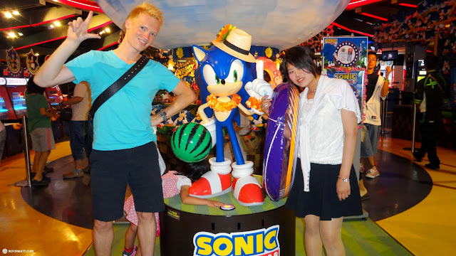 ready to play some games at Sega Joypolis in Odaiba, Tokyo, Japan