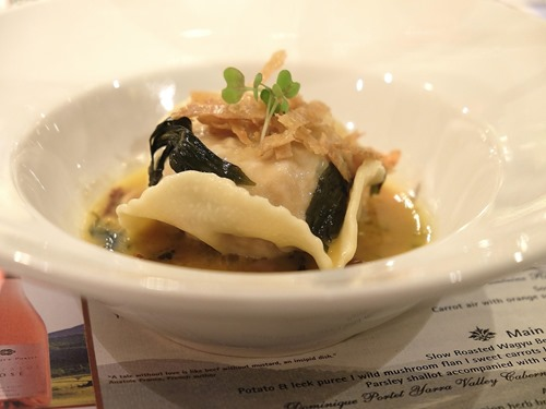 Turducken Ravioli paired with Dominique Portet Fontaine Red 2014