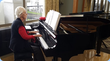Dorothy Waddel playing the K. Kawai grand piano