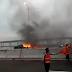 Sedan Mewah Toyota Camry Terbakar Hebat di Jembatan Suramadu Jawa Timur