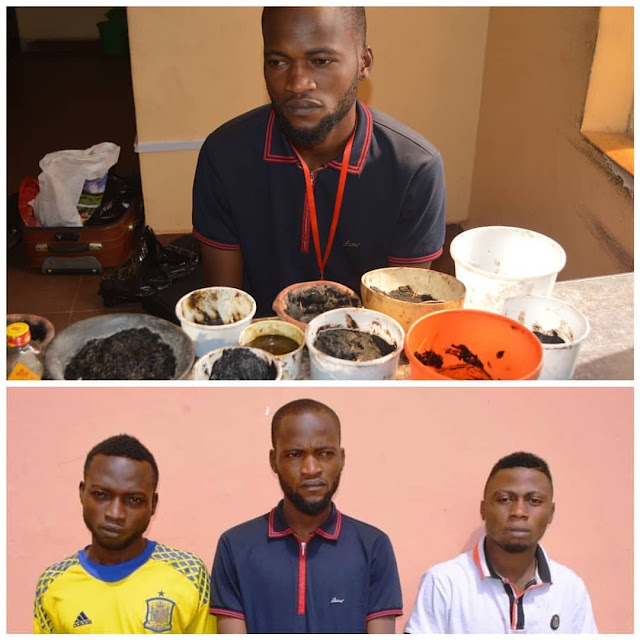 Three Yahoo Boys Paraded With Their Charms And Concotions In Osun State (photos) -