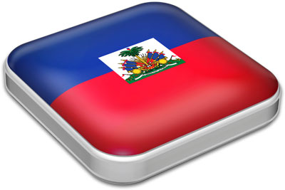 Flag of Haiti with metallic square frame