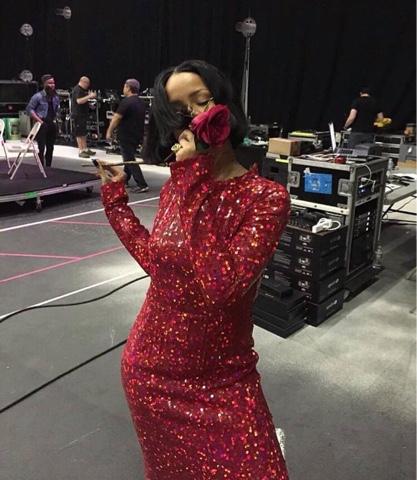 Rihanna wearing Nina Ricci Fall 2015 Grammy rehearsals