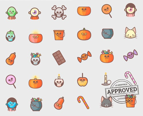 Los 30 iconos en vectores para Halloween del set.