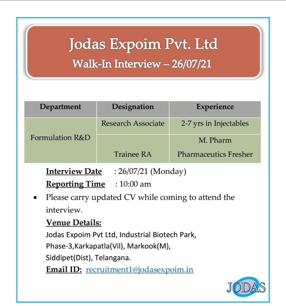 Walk-in Formulation development (R&D) By Jodas Pharmaceutical