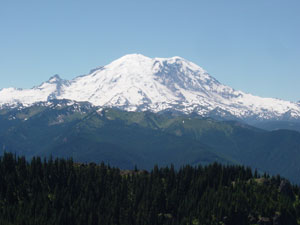 Photo of Mount Rainer taken on top of Noble Knob on July 9, 2006. Photo by Nick Peyton.