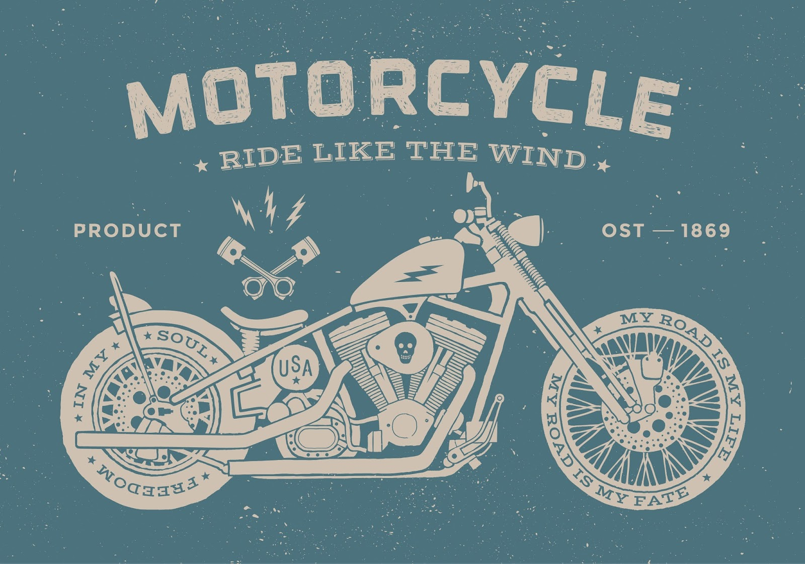 Vintage Race Motorcycle Old School Style Vector Illustration	 Free Download Vector CDR, AI, EPS and PNG Formats