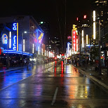 Granville street at night in Vancouver in Vancouver, British Columbia, Canada