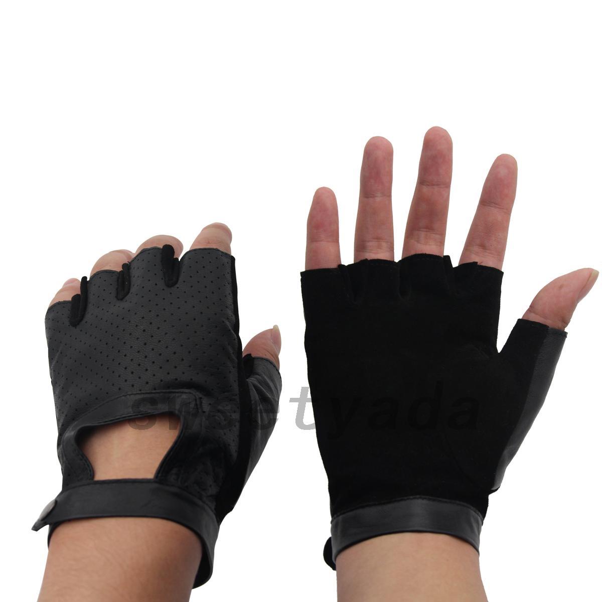 Fingerless driving gloves ebay - Real Leather Sheepskin Fingerless Driving Gloves Motorcycle Biker