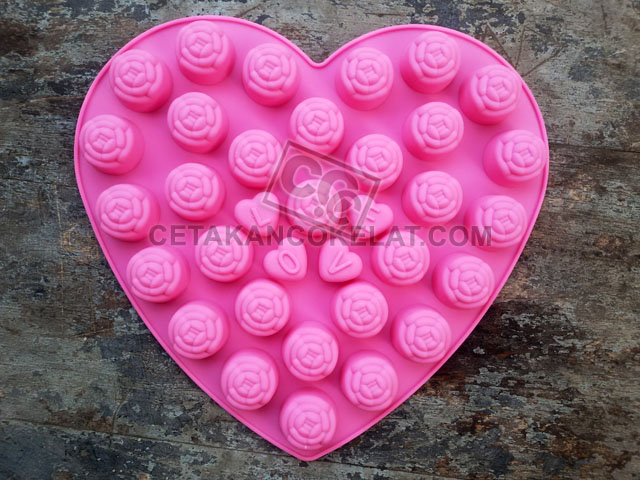 cetakan coklat cokelat silikon bunga love SIL073 SIL73