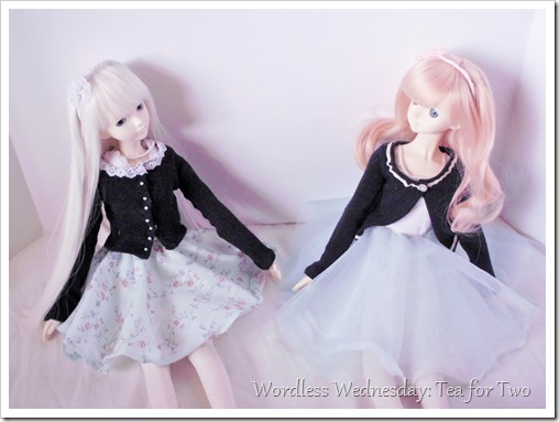 Ball jointed dolls in pretty blue skirts