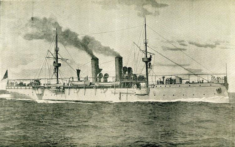 El crucero ADAMASTOR en pruebas de mar. De la revista Le Yacht. Año 1897.JPG