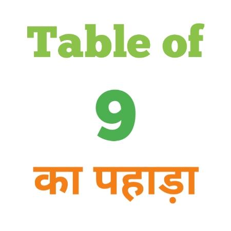9 Ka Pahada ( 9 का पहाड़ा ) 9 ka pahada in hindi - Group Exam