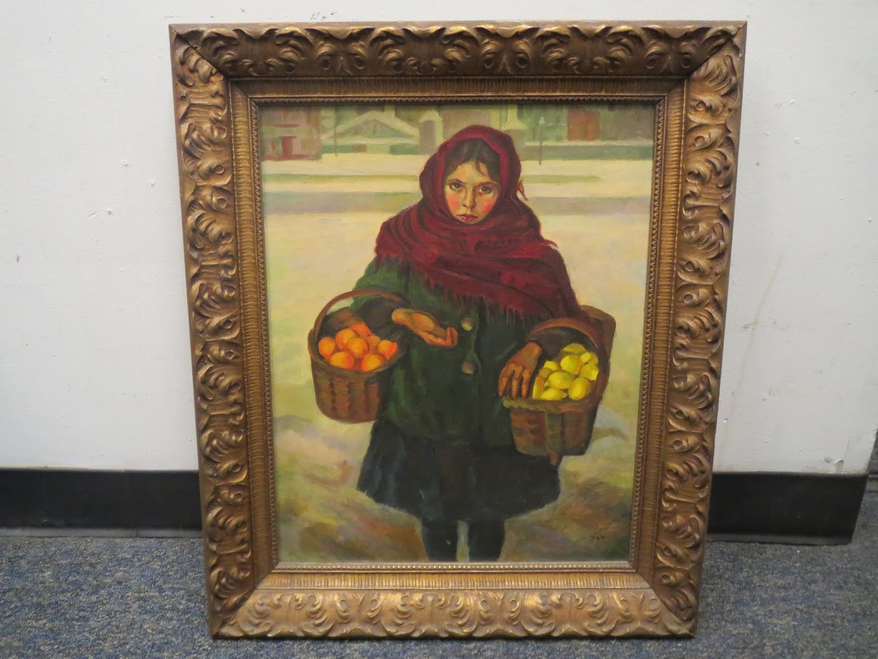 Signed Painting of Girl with Fruit Baskets