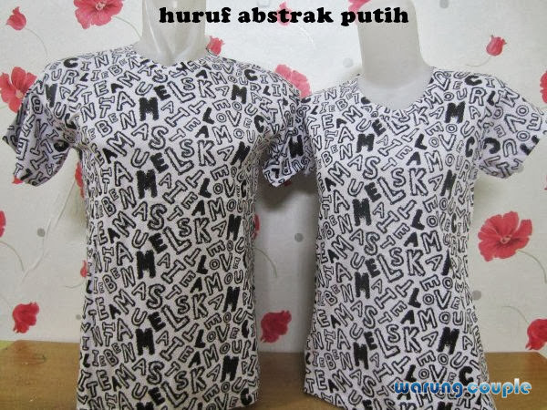 all size, cotton combed, Kaos Couple, Kaos Couple Murah, murah, Putih, huruf abstrak, warna,