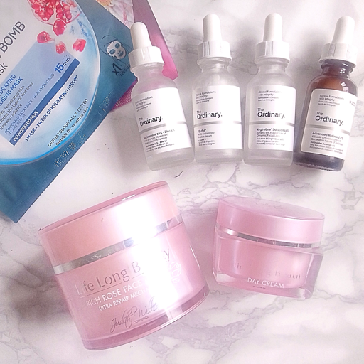 Moisturisers from Judith Williams & Serums from The Ordinary