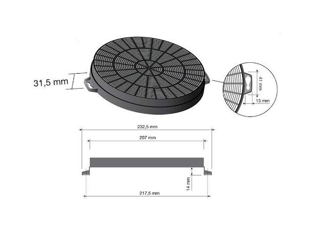 Filtro carboni per cappe Best 21 cm. agganci chiusi 9e9224acda79