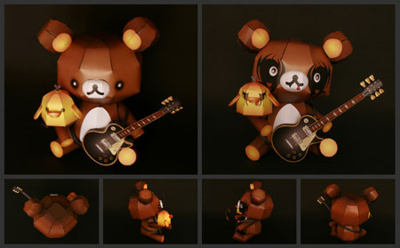 Relax Bear Rilakkuma Papercraft Black Metal