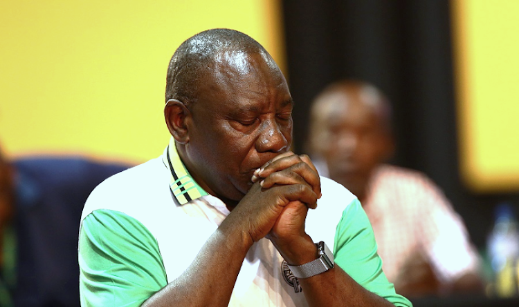 Cyril Ramaphosa closes his eyes after being announced as the new ANC President during the 54th ANC National Elective Conference held at Nasrec. Picture: MASI LOSI