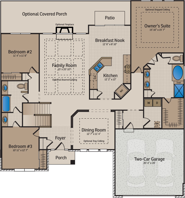 New home builder floor plans and home designs available for Wilshire homes floor plans