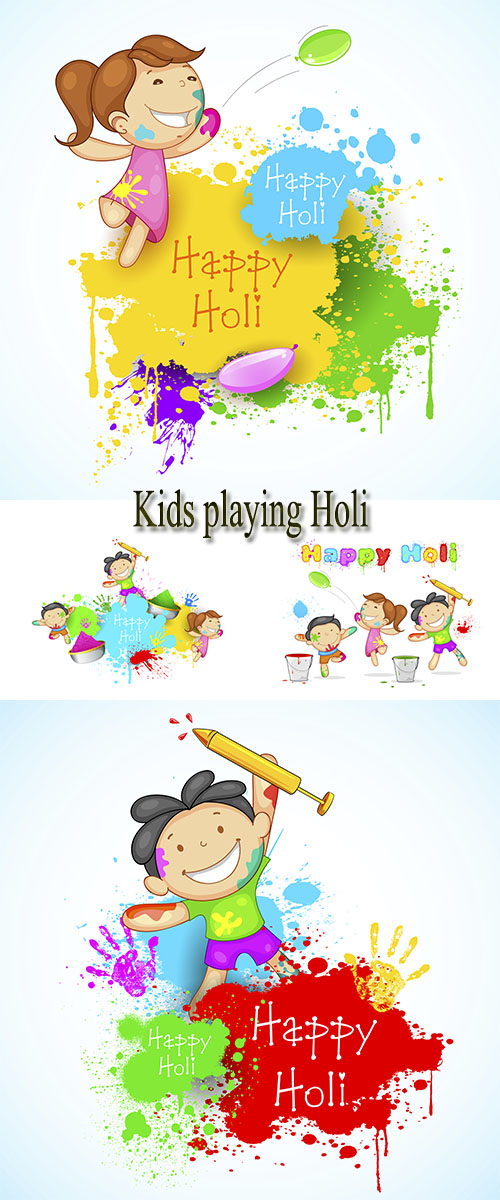 Stock: Kids playing Holi