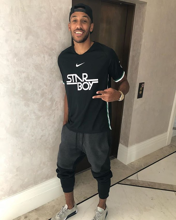 Arsenal Footbal Star Aubameyang Rocks StarBoy's Clothing Line (See Photo)