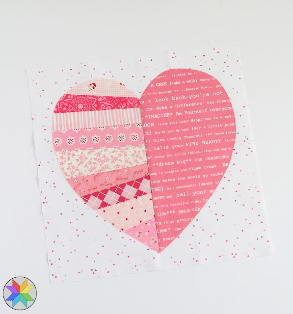 Heartstrings quilt block tutorial by Andy of A Bright Corner - fun Valentine quilt idea