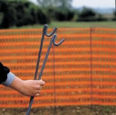Plastic safety fencing and steel fencing pins - on dorset dog dot com