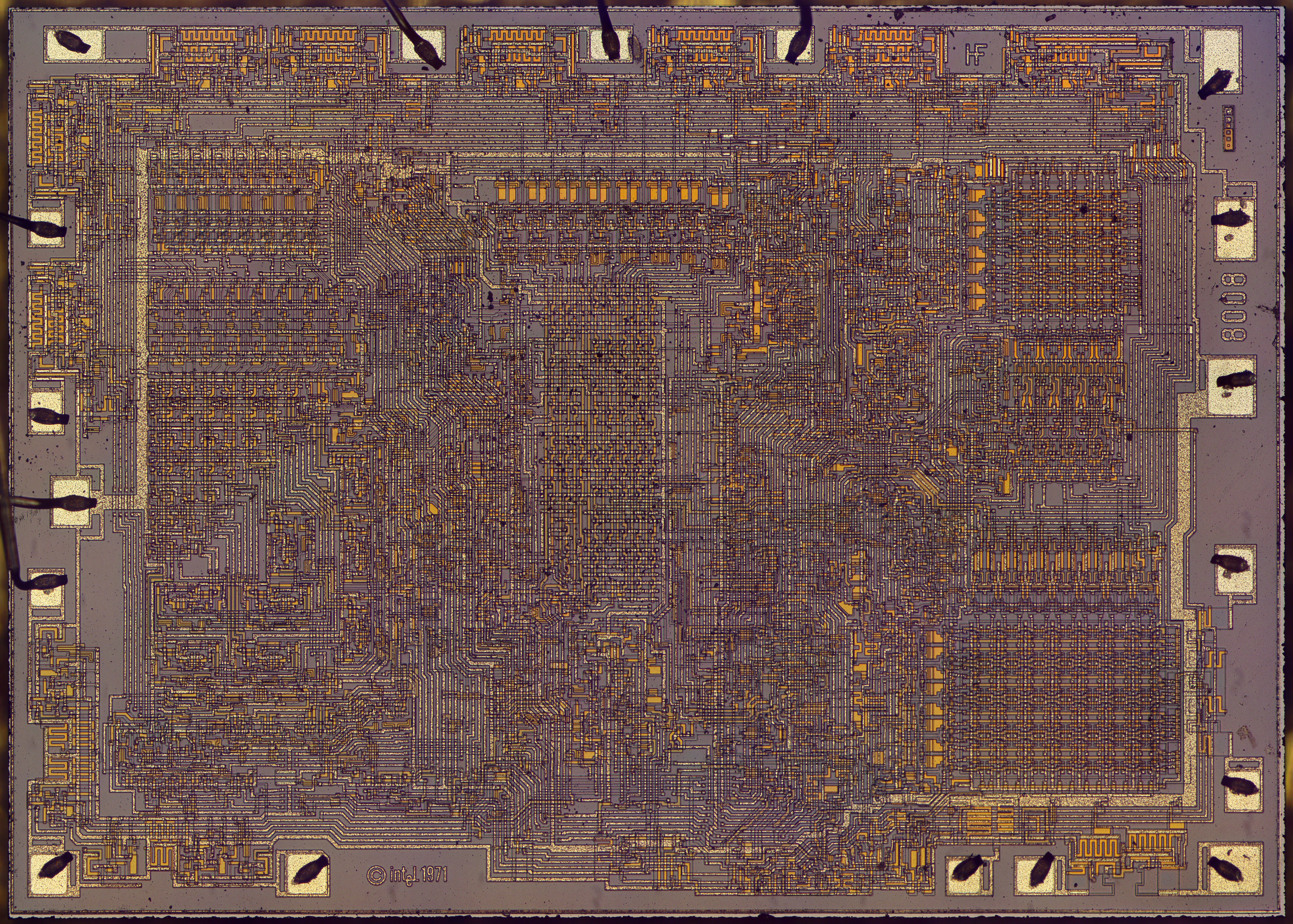 Die Photos And Analysis Of The Revolutionary 8008 Microprocessor 45 Smallscale Integrated Circuit With Bond Wires Attached In Photograph