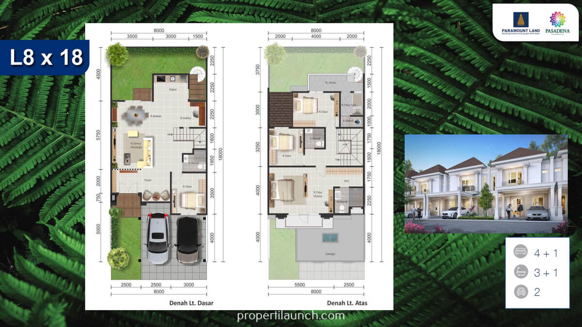 Denah Rumah Pasadena Residence Tipe 8x18 Standard