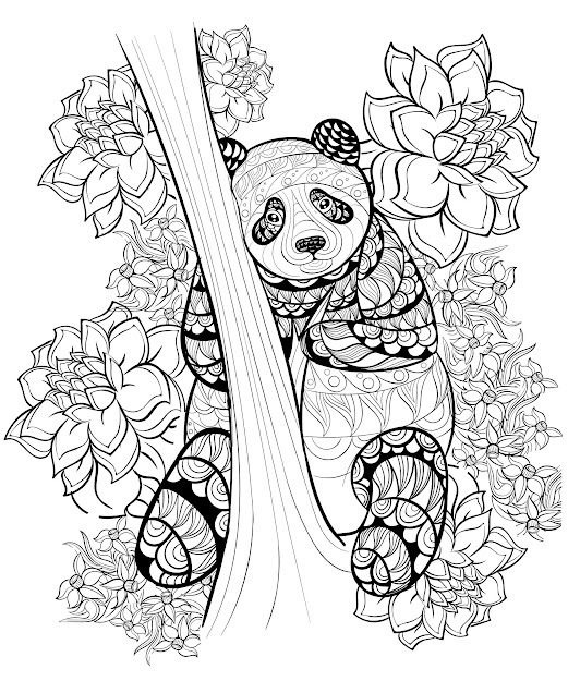 Coloring Pages Adults Panda By Alfadanz Magnificent Panda Hand Drawn Ink  Pattern From The Gallery Animals