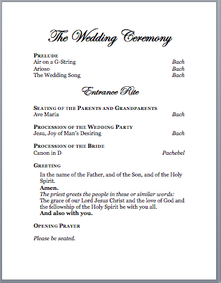Of The Ceremony Well Enough That Everyone Could Pare And Feel Involved I Typed Out All Responses Wrote Please Stand Be