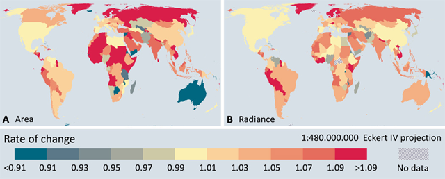Geographic patterns in changes in artificial lighting. Changes are shown as an annual rate for both lit area (A) and radiance of stably lit areas (B). Annual rates are calculated based on changes over the four year period, that is, Embedded Image, where A2016 is the lit area observed in 2016. See fig. S28 for total radiance change instead of stable light radiance change. Graphic: Kyba, et al., 2017 / Science Advances