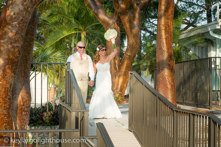 happy bride and groom at Key Largo Lighthouse Beach Weddings