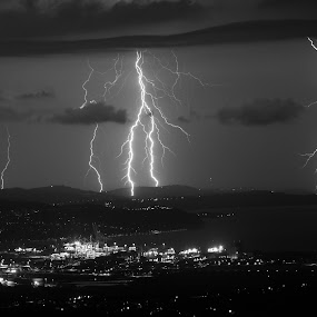 Night time show by Matic Cankar - Landscapes Weather ( lightning, storm, city, night, black and white, clouds )