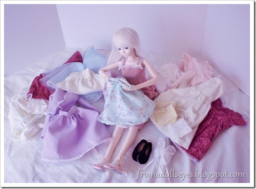 "Wordless Wednesday: ""I Have Nothing to Wear""  A ball jointed doll searching through her wardrobe"