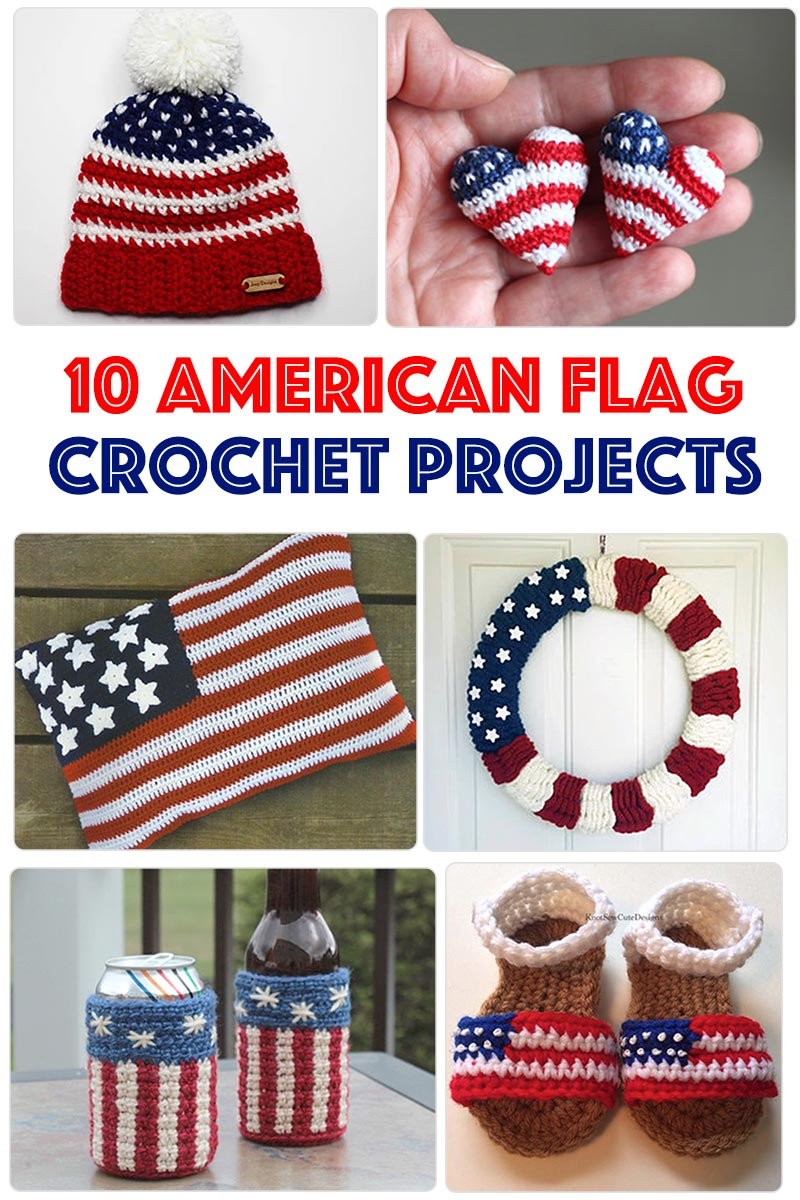 10 crochet project ideas featuring the American Flag. Adding stars and stripes can give any crocheted project a patriotic twist.
