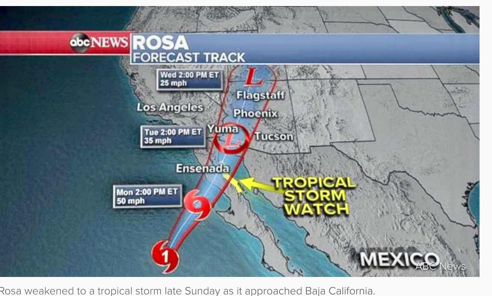 Now we see why our night on Kitt Peak was also cancelled, as impact of Hurricane Rosa continues (Source: ABS News)