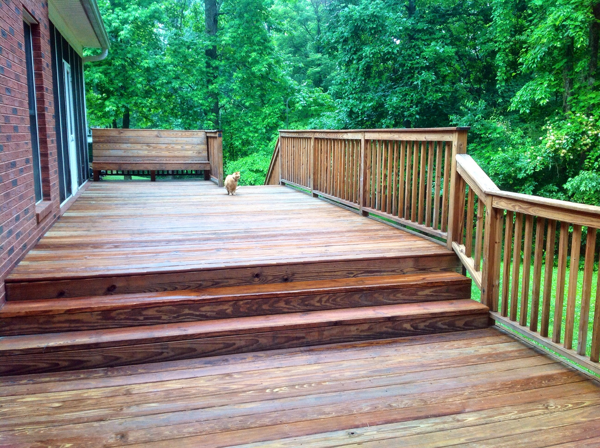 Amazing ... Stain The Wood Deck Himself Any Longer Due To His Weak Legs, But He  Hired The Young, Strong Teenager Who Lives Next Door. The Young Man Did A  Great Job.