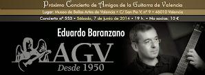 Concierto de AGV: Eduardo Baranzano, guitarra. 7 de junio de 2014